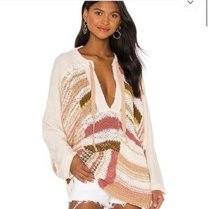 Free People Bayside Knit Pullover Neutral Combo